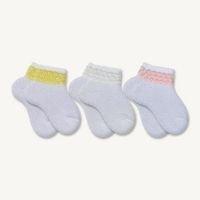 Kit 3 Pares de Meias Bebê Sene Malha Persa Rosa, Branca e Amarela 0 à 8 meses - Meias Sene