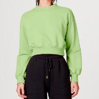 Blusão Moletom Feminino Cropped Em Algodão - Verde
