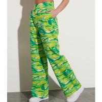 calça reta wide alfaiataria de algodão camuflada cintura super alta mindset verde