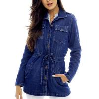 Parka Jeans Básica Sob com Bolsos e Botões Feminina - Azul Escuro