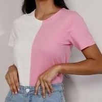 camiseta feminina manga curta bicolor decote redondo rosa
