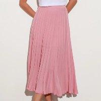 saia midi de tricô plissada mindset rosa claro