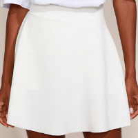 short saia feminino mindset evasê cintura alta off white