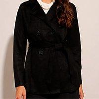 casaco trench coat transpassado de suede com faixa para amarrar preto