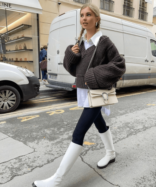 Xenia Adonts - Street Style - bota branca - Inverno  - Steal the Look  - https://stealthelook.com.br