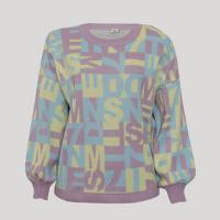 suéter amplo de tricô estampado decote redondo mindset multicor - g