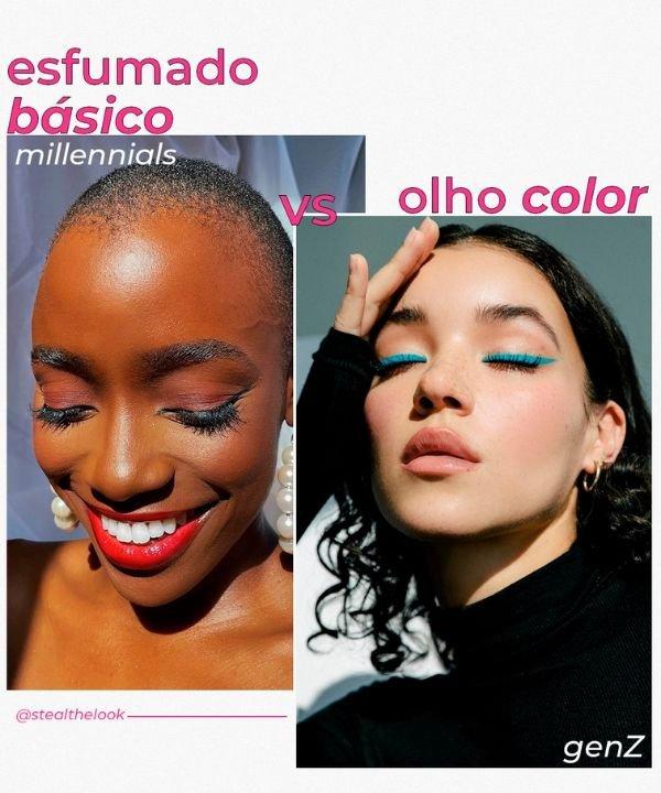 Olhos esfumados  - Olhos coloridos  - tendências de beleza  - geração Z  - cringe  - https://stealthelook.com.br