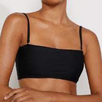 biquíni top faixa com bojo e alça removíveis texturizado proteção uv50+ preto