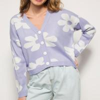 cardigan amplo de tricô estampado floral decote v mindset lilás
