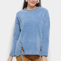 Suéter Tricô Facinelli Amarração Feminino - Azul