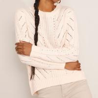 suéter de tricô feminino oversized decote redondo bege claro