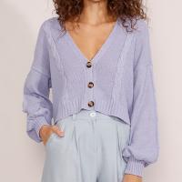 cardigan feminino de tricô oversized cropped texturizado trança manga bufante decote v lilás