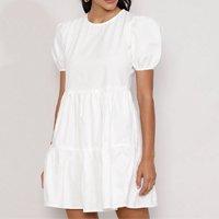 vestido feminino curto com recortes manga bufante off white
