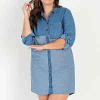 bonprix - Vestido Chemise Jeans Bicolor Azul Médio