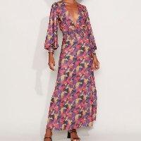 vestido feminino mindset longo estampado com lastex e fenda manga bufante multicor