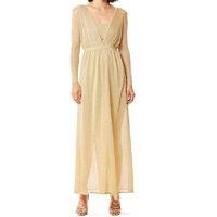 Iodice Vestido Iódice Longo Decote V Abertura Costas Branco/Dourado - Branco+dourado