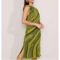 vestido de tricô estampado com fenda midi sem manga mindset verde