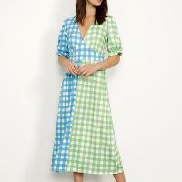 vestido estampado xadrez vichy bicolor midi manga bufante mindset multicor