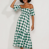 vestido feminino midi ombro a ombro estampado xadrez vichy com lastex e recortes manga curta verde