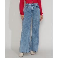 calça jeans feminina wide pantalona cintura super alta marmorizada azul médio