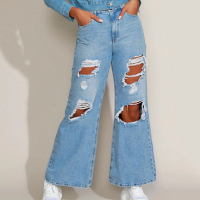 calça jeans feminina wide pantalona cintura super alta destroyed azul claro