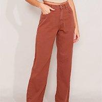 calça wide reta de sarja cintura super alta marrom