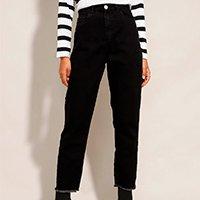 calça mom jeans cintura super alta preta