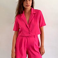 blazer feminino mindset cropped manga curta pink