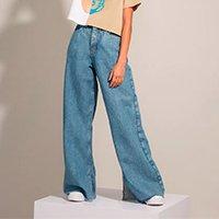 calça wide pantalona jeans ciclos com fenda cintura super alta disney ciclos azul médio