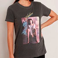 t-shirt de algodão flashdance alex manga curta decote redondo mindset chumbo