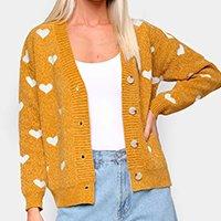 Tricô Facinelli Coração Com Botões Feminino - Amarelo