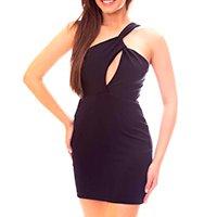 Vestido Moda Vicio Um Ombro Só Decotado Feminino - Preto