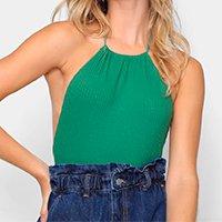 Body Farm Liso Decote Alto Feminino - Verde
