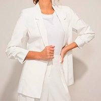 blazer longo com bolsos manga 7/8 off white
