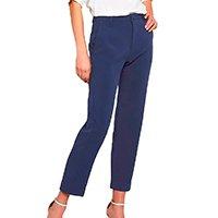 Calça Miss Joy Alfaiataria Creponada Bolso Feminina - Azul