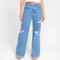 Calça Jeans Wide Leg Sawary Barra Desfiada Feminina - Azul