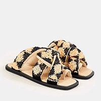 sandália torcida croche de palha