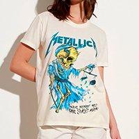 t-shirt de algodão da banda metallica manga curta decote redondo mindset off white