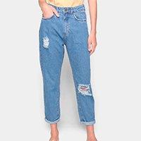 Calça Jeans Mom Dzarm Cintura Alta Feminina - Azul Claro