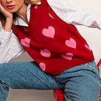 colete de tricô estampado de coração decote v mindset vermelho