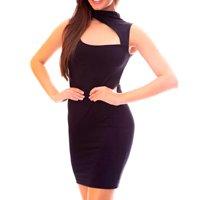 Vestido Moda Vicio Regata Gola Alta Recorte Feminino - Preto