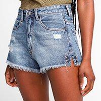 Short Jeans Animale Jeans Desfiado Fenda Feminino - Azul