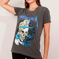 t-shirt de algodão da banda metallica manga curta decote redondo mindset chumbo