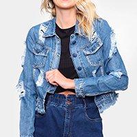 Jaqueta Jeans Naraka Destroyed Feminina - Azul