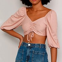 blusa feminina manga bufante cropped com franzido e amarração decote v rosê