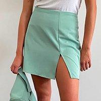 saia feminina mindset curta com fenda verde claro