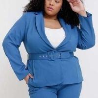 Pianeta - Blazer Liso Almaria Plus Size Pianeta Alfaiataria Azul