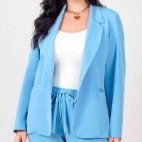 Newumbi - Blazer Amplo Almaria Plus Size New Umbi Alfaiataria Azul