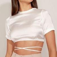 blusa feminina mindset cropped de amarrar manga curta decote redondo off white