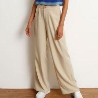 calça alfaiataria pantalona cintura super alta bege